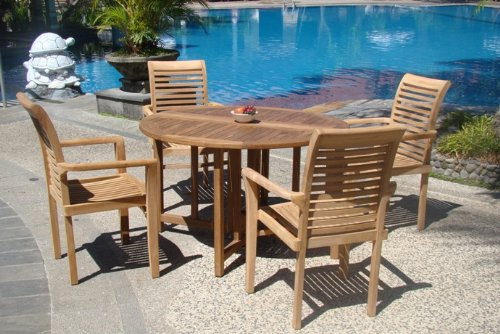 "Hot Sale Grade-A Teak Wood luxurious 5 pc Dining Set : 48"" Round Table and 4 Stacking Sam Arm Chairs"