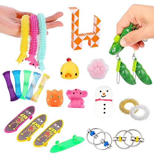 Enkomy Fidget Toys, Juego de 25 Piezas de Juguetes sensoriales para Personas con Autismo y TDAH, Bolas para el estrés, Alivio de la ansiedad, Alivio del estrés y Regalo contra la ansiedad