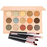 Vodisa Colorful Eyeshadow Palette Matte Shimmer High Pigmented Eyeshadow Pallet 15 Colors Professional Makeup Nudes Warm Natural Long Lasting Waterproof Eye Shadow with Make Up Brushes Set (Brown)