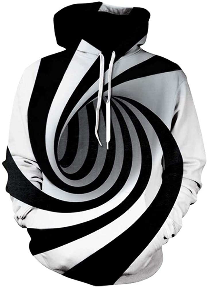 XXBR 3D Hoodies for Mens, Funny Creative Digital Vortex Printed Hooded Sweatshirts Loose Casual Novelty Pullover Tops