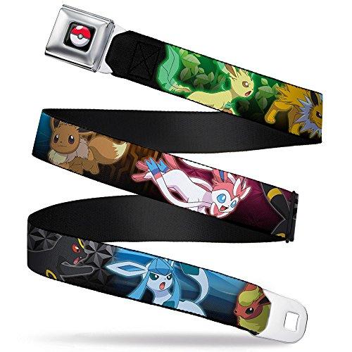 Buckle-Down Men Seatbelt Belt Pokemon WPK133, Eevee Evolution Action Poses/Type Scene Multi Color, 1.0
