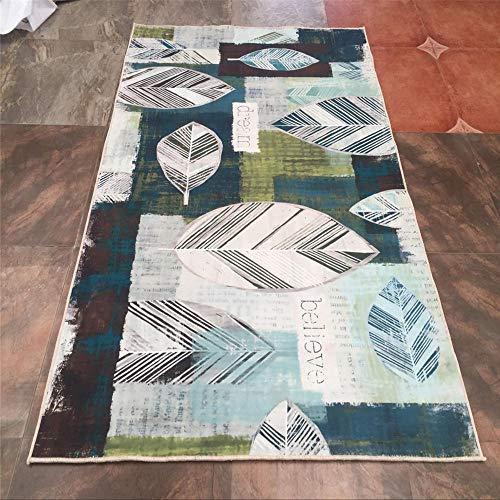Rugmmor tapijt, design met bladeren, blauw, abstract patroon, zacht en duurzaam, wasbaar, minimalistische stijl, modern Los 80X120CM Rosa Roja