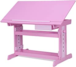 Costzon Adjustable Children Desk Drafting Table Art & Craft Drawing Desk w/Drawer Pink
