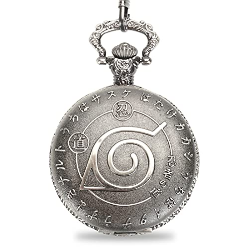 CosplayStudio Reloj de bolsillo con símbolo de Konoha para fans de Naruto   Reloj de pulsera de metal de Konohagakure