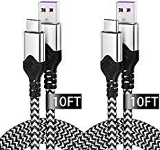 USB Type C Cable 10ft,2 Pack Durable USB C Charger Cable for Samsung Galaxy S10 Plus,Fast Charging USB C Braided Cable for Google Pixel 3a Pixel 2 Samsung S9 S8 Note 9 LG G8 V50 V20