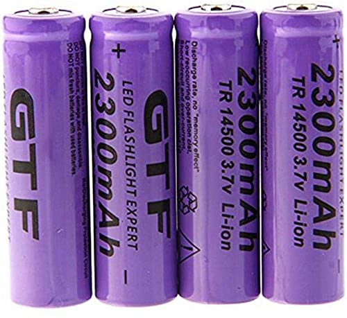 Rechargeable Battery 14500 Battery 3.7V 2300Mah Rechargeable Li-Ion BatteryLed Flashlight and Other Portable Electronic EquipmentPointed Battery-10 Pieces-2_Pieces