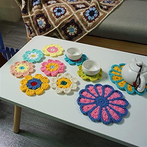 SHUJINGNCE Décoration Crochet Doilies Tapis à la Main Crochet Coupe Multicolore Cousseurs de Fleurs Multicolores Tapis Ronds Tapis de Laine 8cm Patch 10pcs