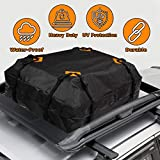 VaygWay Rooftop Cargo Carrier Bag –Waterproof Car Roof Cargo Bag – Heavy Duty 15 Cubic Feet – Universal Car SUV Camping Bag