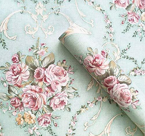 Vintage Light Green Rural Rose Adhesive Paper Shelf Liner Funitures Dresser Drawer Cabinet Decor 17.7 Inch by 96 Inch