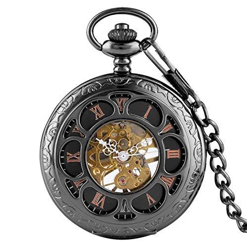 懐中時計スチームパンクシルバー/ブラックローマンナンバーダイヤルメカニカルハンドワインディングポケットウォッチハーフハンターペンダントウォッチ、ポケットチェーン付き、ブラック