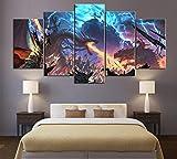 Slbtr Juego de póster de Pintura Decorativa de 5 Piezas Mural para el hogar Total War: Warhammer II Juego Animación Arte Decoración de la Pared Pinturas