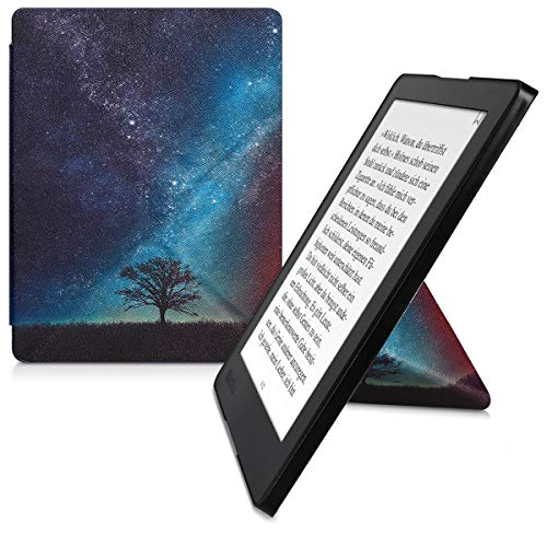 kwmobile Funda Compatible con Kobo Aura H2O Edition 2 - Carcasa magnética de Origami para e-Book - árbol y Estrellas Azul/Gris/Negro