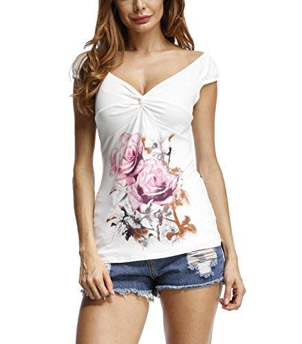 T-Shirt Manches Courtes Femme Casual Sexy Chemise Cache Coeur Col V Moda Haut Une Epaule Nue Blouse Imprimé Fleuri Tunique Moulante Ete Boheme Chic Pull-Over Sweatshirt Basique Top Blanc Slim Fit