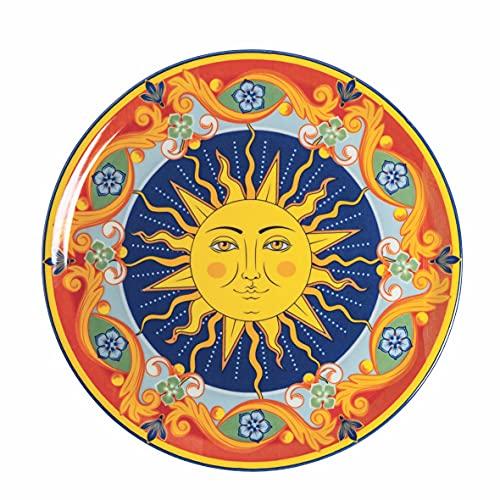 Soleil - Juego de 6 platos de pizza de stoneware de 33 cm de diámetro x 2 cm de altura. Fabricado en Italia