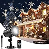 ALOVECO Christmas Snowflake Projector Lights, Rotating LED Snowfall Projection Lamp with Remote Control, Outdoor Waterproof Sparkling Decorative Lighting for Halloween Xmas Party (Warm White 3000K)
