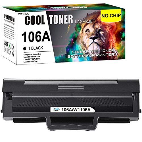(Kein Chip) Cool Toner 106A Kompatibel für HP W1106A 106A Tonerkartusche Replacement für HP Laser MFP 135wg 135a 135w 107a 107w 137fnw 135ag 107r 137fwg (Schwarz, 1 Pack)