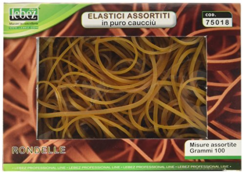 Lebez 75018 - Elastici con misure assortite in caucciù in scatola da 100gr