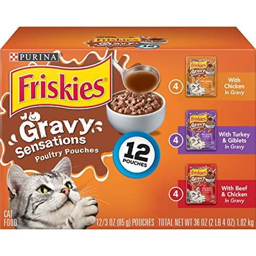 Purina Friskies Gravy Wet Cat Food Variety Pack, Gravy Sensations Poultry Pouches - (2 Packs of 12) 3 oz. Pouches