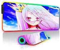 マウスパッド No Game No Life Anime Large Gaming RGB Mouse Pads Locked Computer LED Backlight XXL Keyboard Desk Mat27.6x11.8インチ