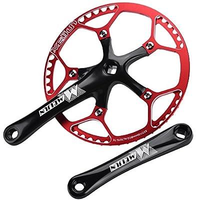 Bicycle Crankset, Single Speed Crankset Mountain Bike Aluminum Alloy Hollow Integral Mountain Bike Crankset Arm Speed Fixed Gear,Easy to Modify Single Crank Set