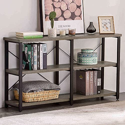 GRELO HOME Rustic Console Table for Entryway, Industrial Sofa/Entry Table with Storage Open Bookshelf, 55 Inch Gray Oak