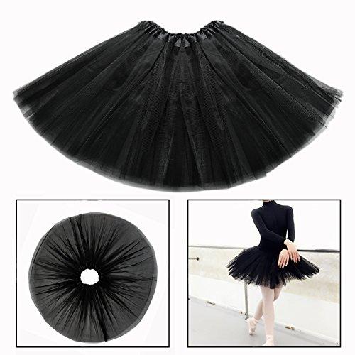 OFKPO Niñas Falda de Tul de Ballet Infantil de Negro Disfraz Bailarina Ballet Costume
