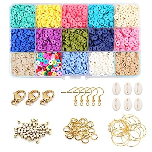 Fabricación de Joyas Polímero Clay Beads Chip Disco sobre Spacer Mixt Cave Cava COMPAÑÍN Beaders Pendientes PERDADOR DIY JOYERÍA Que Hace Kit para Pulseras de Bricolaje joyería (Color : A 6mm)