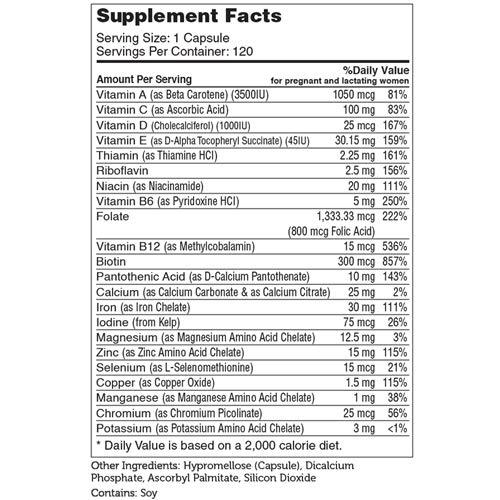 Zahler Total One Prenatal, Once Daily Prenatal Vitamins, Certified Kosher, 120 Capsules