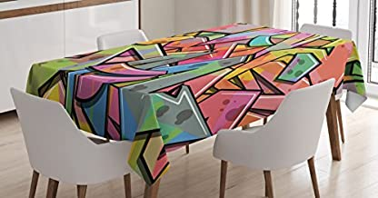 Ambesonne Colorful Tablecloth, Abstract Grunge Arrows Graffiti Inspired Spray Paint Style Illustration, Dining Room Kitchen Rectangular Table Cover, 60