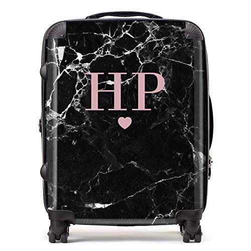 Personalised Black & Blush Pink Marble Initials & Heart Monogram Suitcase with TSA Lock 4 Spinner Wheels Large Expandable Luggage 78cm 95Ltr