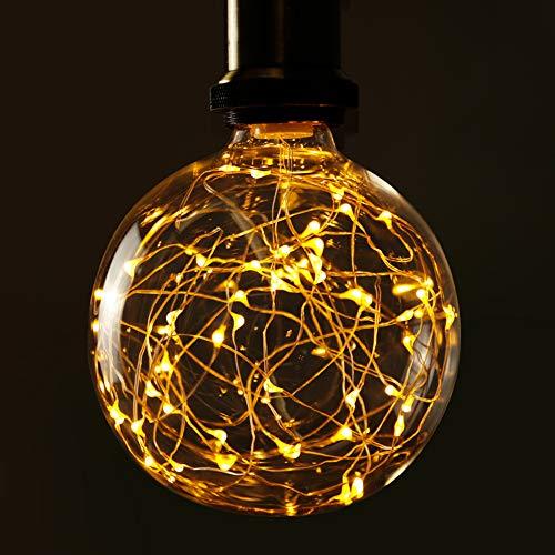 LED Glühbirne E27 Deko, GBLY Kreative Lichterkette, 2200K Warmweiß Glühlampe, G125 Kugelförmige Dekorative Beleuchtung für Weihnachten, Party, Hochzeit, Bar, Festdekorationen, nicht Dimmbar