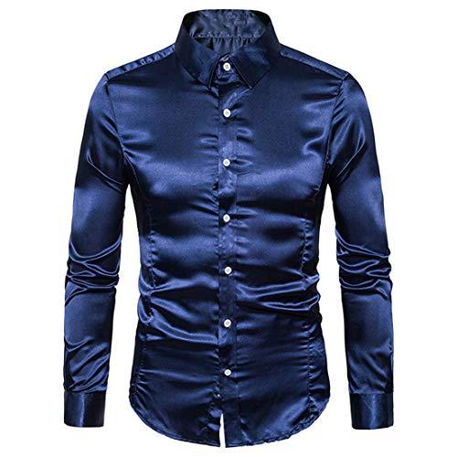 PANBOB Men Shirt Men Business Shirt Comfortable Elegant Pure Color Simple Button Long-Sleeved Spring Autumn Fashion Smooth Fabric Wedding Men Shirt E-Navy XXL