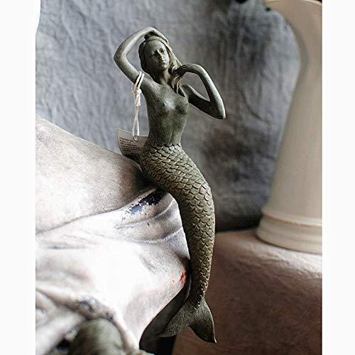 zenggp Sirène Figurine Piscine Jardin Décor Jardin Cour Ornement en Résine Nouveau Assis Queue