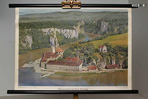 vintage13.de Schulwandkarte Rollkarte Lehrtafel Donaudurchbruch Bei Kloster Weltenburg