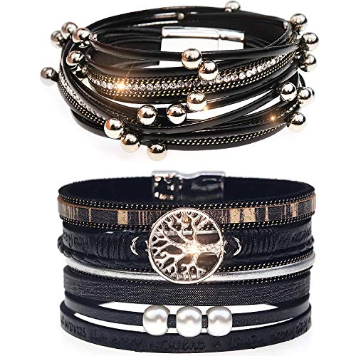 Suyi Multilayer Leather Bracelet Set 2 Pieces Beads Wrap Bracelet Wrist Cuff Bangles with Magnetic Buckle for Women Black