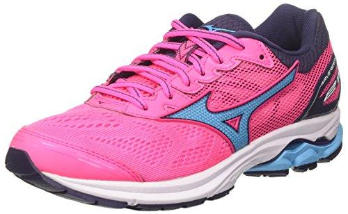 Mizuno Wave Rider 21 Wos, Zapatillas de Running para Mujer, Multicolor (Pinkglo/Aquarius/Graystone 23), 36.5 EU
