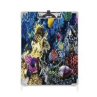 フォルダーボードフォルダーライティングボード 海 事務用品の文房具 (2パック)紅海のカラフルなサンゴ礁と魚のコロニーエジプトアフリカ水中生物画像多色