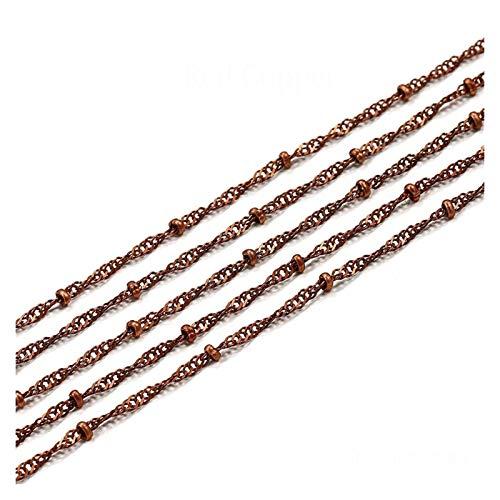 WEIGENG Cadena de cuentas de cobre de 5 m de ancho de 1,8 mm de ancho para tobilleras, accesorios de joyería (color: cobre rojo, tamaño: cadena de 1,8 mm)