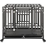 puppykitty Heavy Duty Dog Crate Cage Kennel Strong Metal Frame Kennel Durable Indoor & Outdoor Kennel for Large Dogs, Easy to Assemble and Move with Four Wheels, 45'/ Black