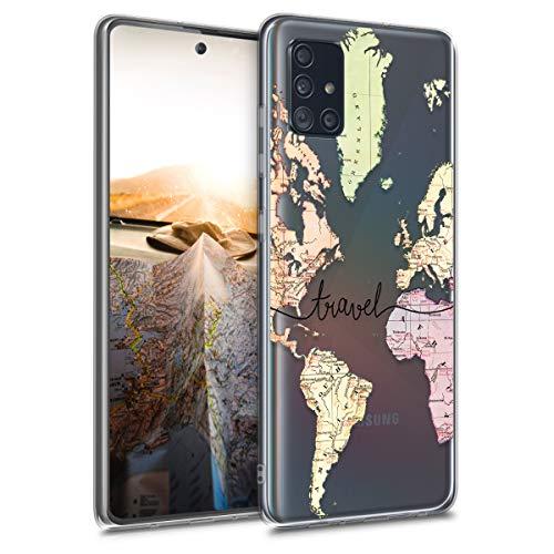kwmobile Funda Compatible con Samsung Galaxy A51 - Carcasa de TPU y Mapa Mundial en Negro/Multicolor/Transparente
