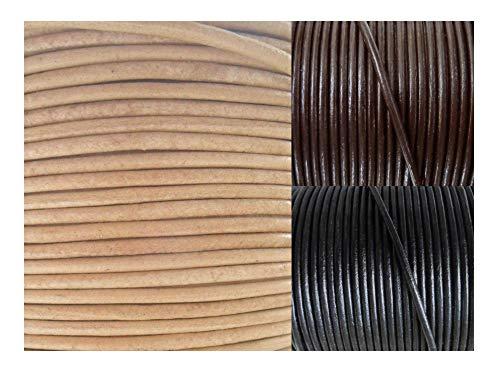 AURORIS - Lederband rund Ø 5 mm - Länge/Farbe wählbar - Variante: 2m / natur