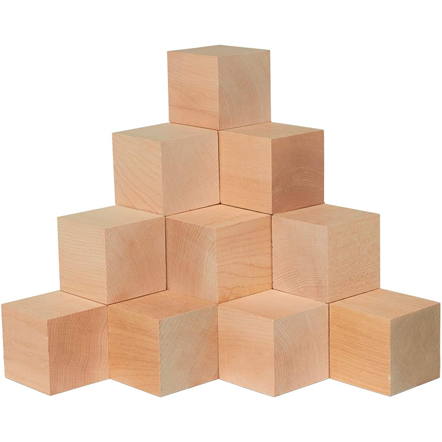 Wood Blocks, 2-1/2 Inch Cubes, 2 Pack   Unfinished Wooden Toy Craft Supply Kit for Kids & Adults, DIY Art Projects, ABC Toys   Woodpeckers Crafts
