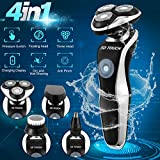 Vifycim Electric Shavers for Men, Mens Electric Razor 4 in 1 Dry Wet Waterproof Face Rotary Shaver Travel Rechargeable USB Cordless with Nose Trimmer Facial Cleaning Brush for Dad Husband Man