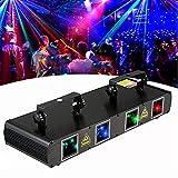 Stage Lights Professional DJ Laser Lights 4 Lens BUBUSAN Sound Activated LED Stage Laser Light Effect Party Music Lights DMX Control for Disco Dancing Bar Pub Stage Lighting.