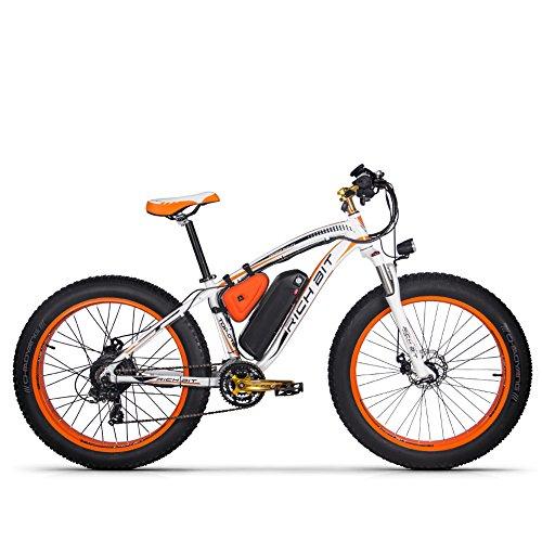Elektrofahrrad Ebike Mountainbike, 26'Fat Tire Elektrofahrrad mit 48V 17Ah / Lithium Batterie und Shimano 21-Gang (Orange)