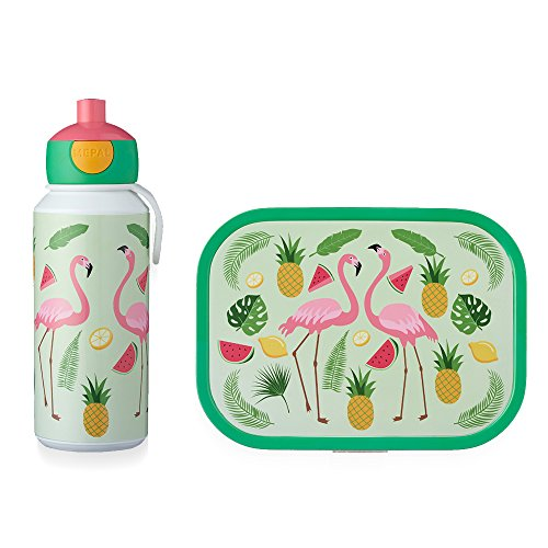 Mepal (pop-up drinkfles en broodtrommel) - tropische flamingo lunchset-campus-campuscafd, abs, 0 mm, 2 stuks