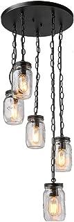 LNC Adjustable Mason Jar Chandelier Bronze Pendant Lights for Kitchen, Dining Room, A03224