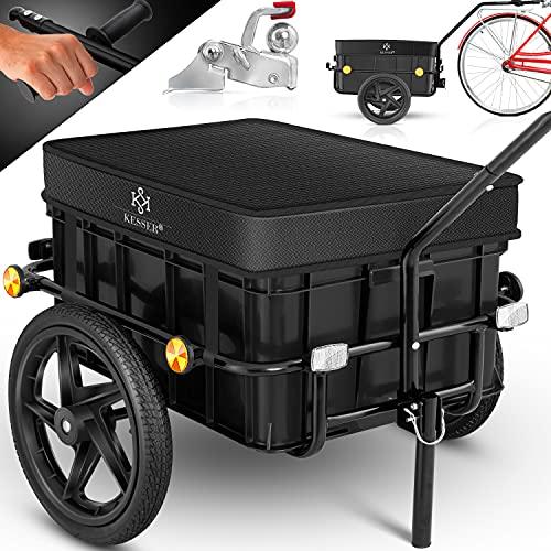 KESSER® Fahrradanhänger, Lastenanhänger, Handwagen mit Kupplung, Hochdeichsel, für Fahrrad Transportanhänger Transportbox mit 70 Liter Volumen, Max. 60kg für Fahrräder mit 26\'\' - 28\'\', Schwarz
