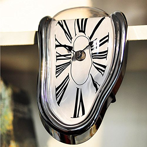 Schmelzende Wanduhr Surreal Melting verzerrt Wanduhr Surrealist Salvador Dali Stil Uhr Kunst Geschenk Heimdekoration (Silber)