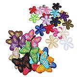 saizone 33 PCS Bunte Bestickte Schmetterlings & Blumenbeete Aufbügeln, DIY Applique Bekleidungsstoffzubehör, für Kleidung Kleid Plant Hat Jeans